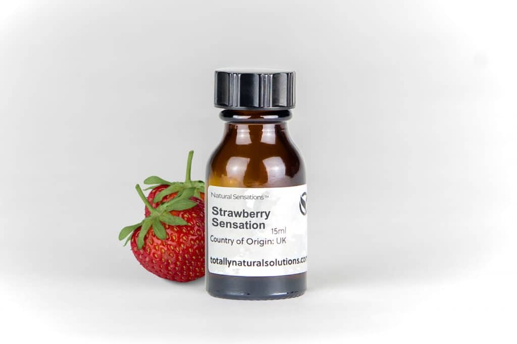 Brown 15ml glass bottle of 'strawberry sensations' with strawberries