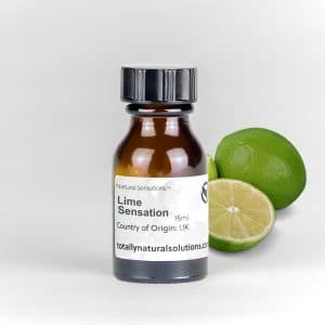 Brown 15ml glass bottle of 'Lime Sensation' with limes