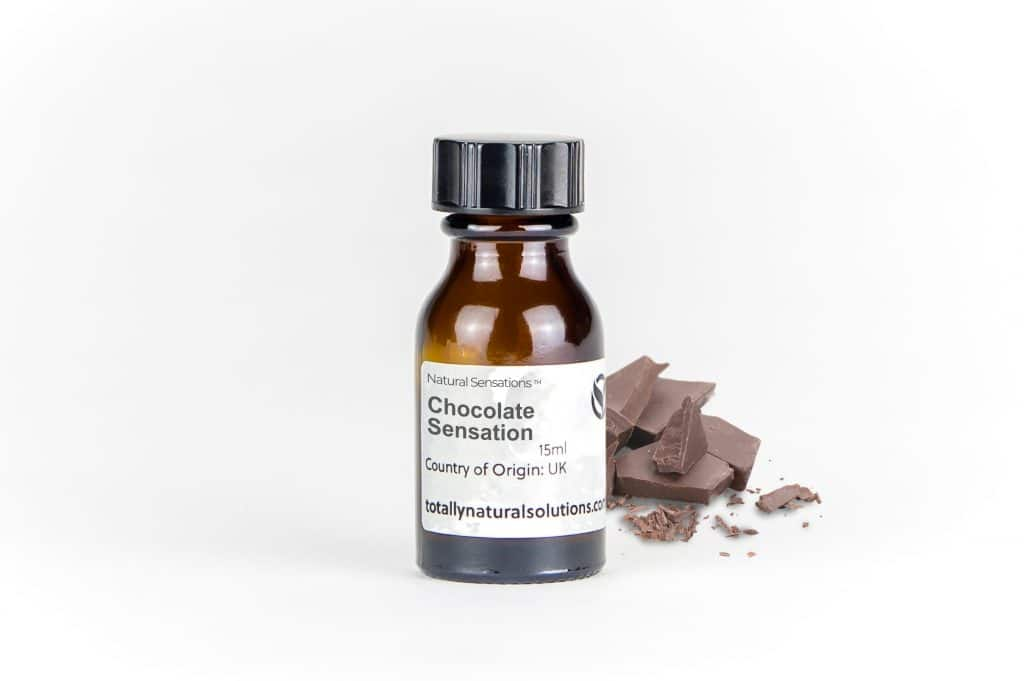 Brown 15ml glass bottle of 'chocolate sensation' with chocolate