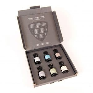 Grey box of six 15ml brown glass bottle products