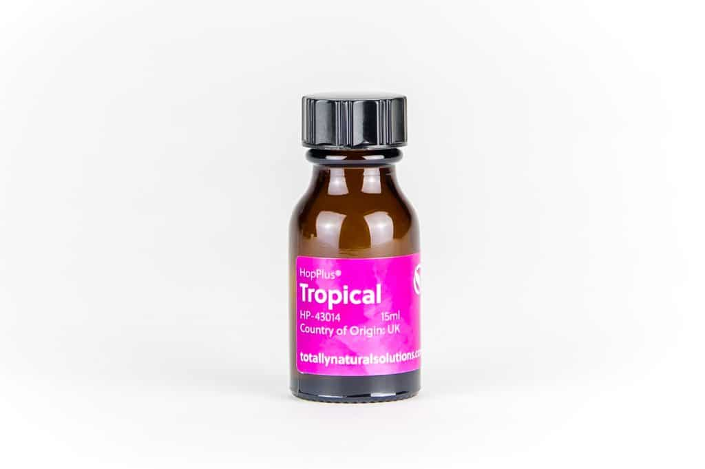 Brown 15ml glass bottle of 'tropical'