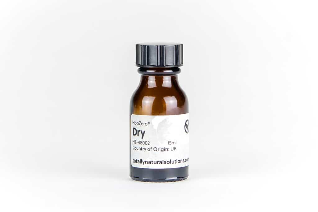 Brown 15ml glass bottle of 'dry'